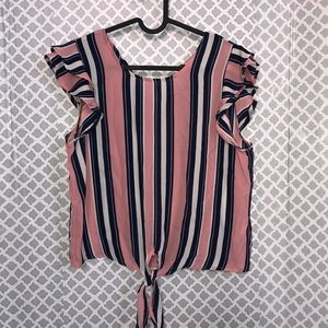 Twine & String blue pink striped tie front blouse